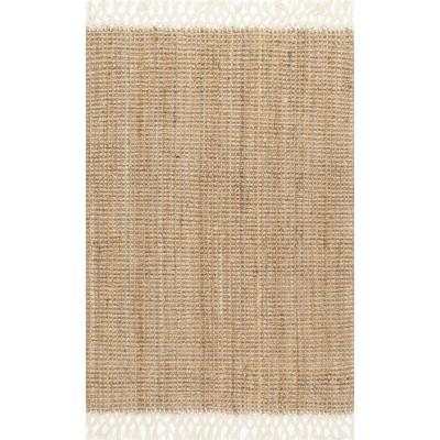 Raleigh Farmhouse Fringed Jute Tan 8 ft. x 10 ft. Area Rug