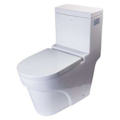 1-Piece 1.32 GPF Single Flush Elongated Toilet in White