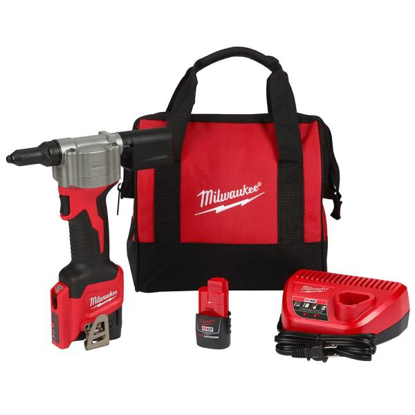 Milwaukee M12 12-Volt Lithium-Ion Cordless Rivet Tool Kit with (2) 1.5Ah Batteries and Charger