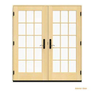 72 in. x 80 in. W-4500 Vanilla Clad Wood Left-Hand 15 Lite French Patio Door w/Lacquered Interior