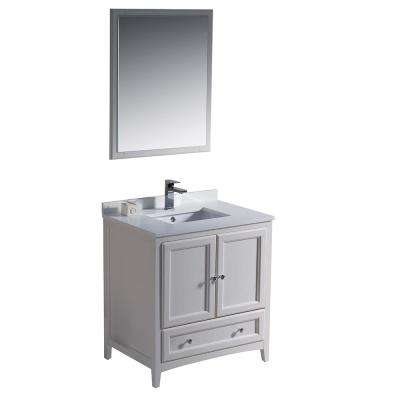 Warwick 30 in. Bathroom Vanity in Antique White with Quartz Stone Vanity Top in White with White Basin and Mirror
