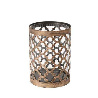 7.6 in. Metal and Glass Candle Holder