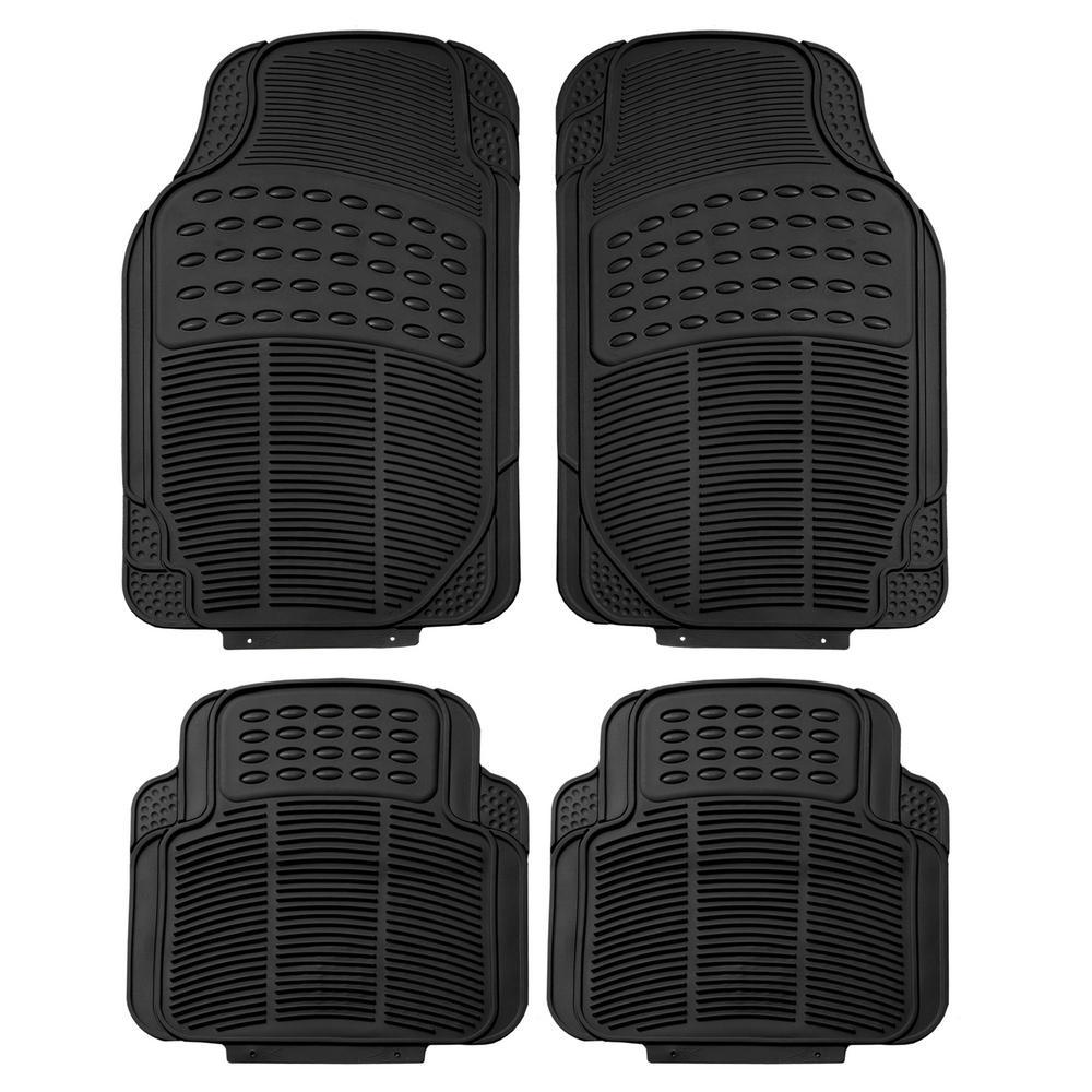 Black Durable Heavy Duty 29 in. x 18 in. x 2 in. Rubber Car Floor Mats (4-Piece)
