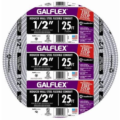 1/2 in. x 25 ft. Galflex RWS Metallic Armored Steel Flexible Conduit