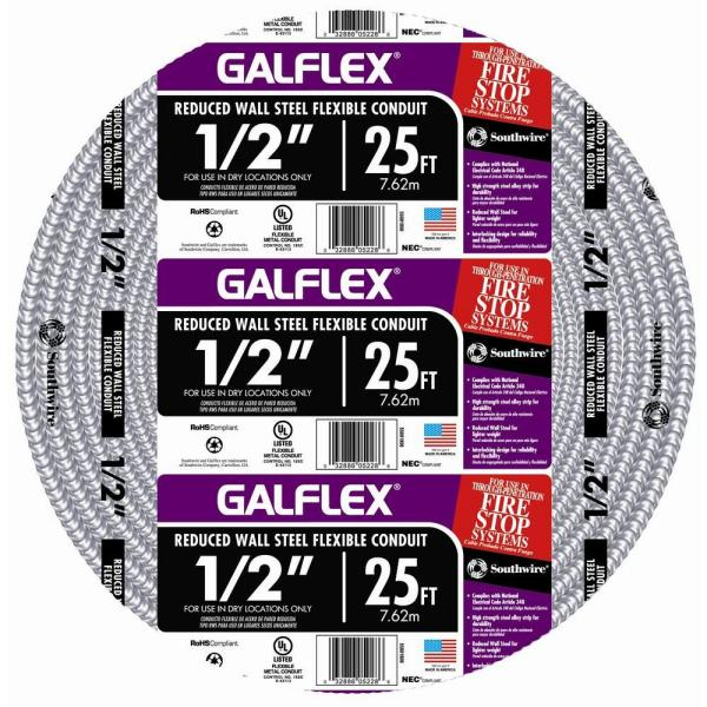 1/2 in. x 25 ft. Galflex RWS Metallic Armored Steel Flexible Conduit