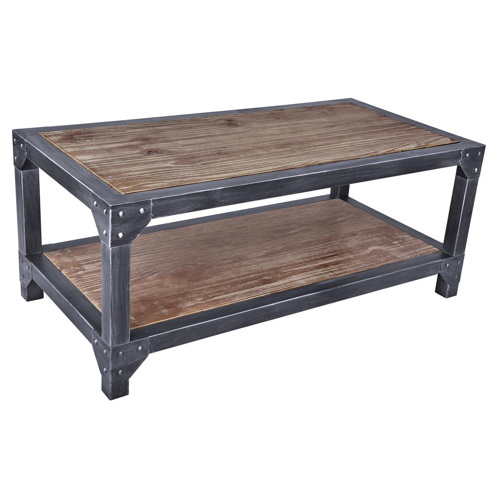 Industrial Coffee Table Images: Armen Living Astrid Industrial Grey Coffee Table