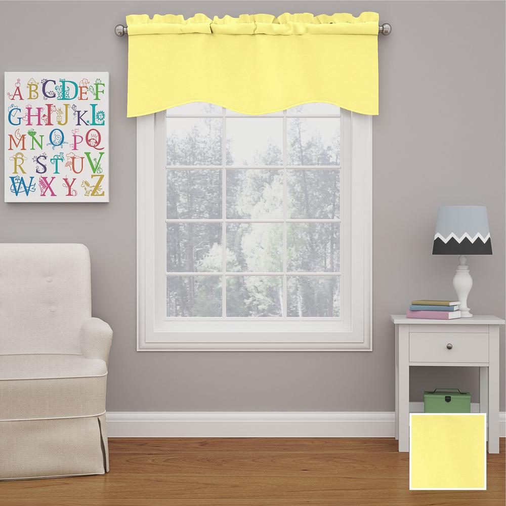 Kendall 18 in. L Polyester Rod Pocket Valance in Lemon (1-Pack)