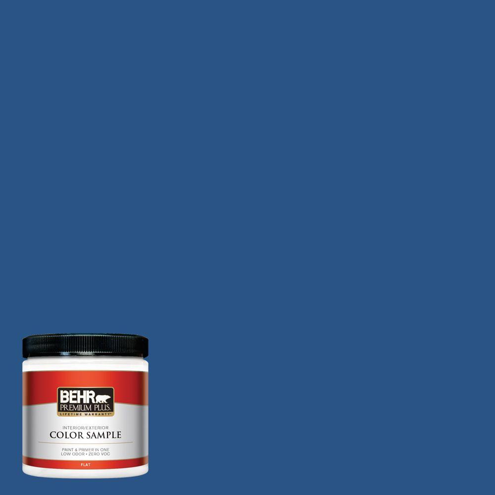 BEHR Premium Plus 8 oz. #590B-7 Award Blue Interior/Exterior Paint Sample