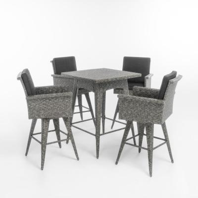 Puerta 41 in. Mixed Black 5-Piece Wicker Square Outdoor Serving Bar Set with Dark Grey Cushions
