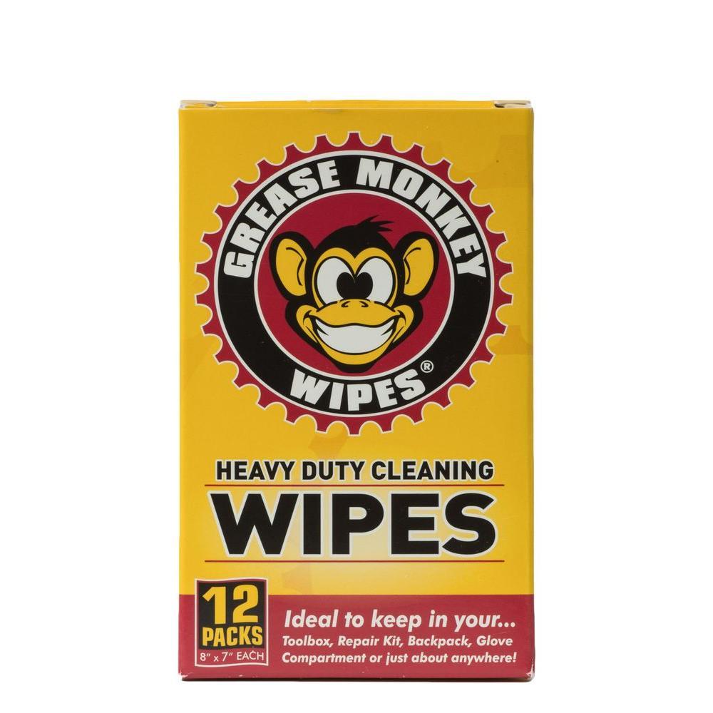 Grease Monkey Individual Heavy-Duty Multi-Purpose Disinfectant Cleaning Wipes (12-Pack)