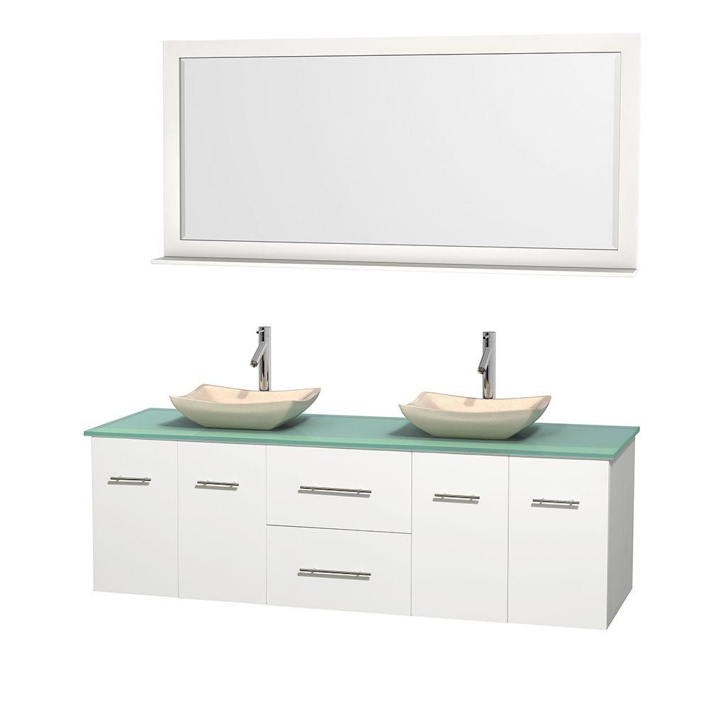 Centra 72 in. Double Vanity in White with Glass Vanity Top