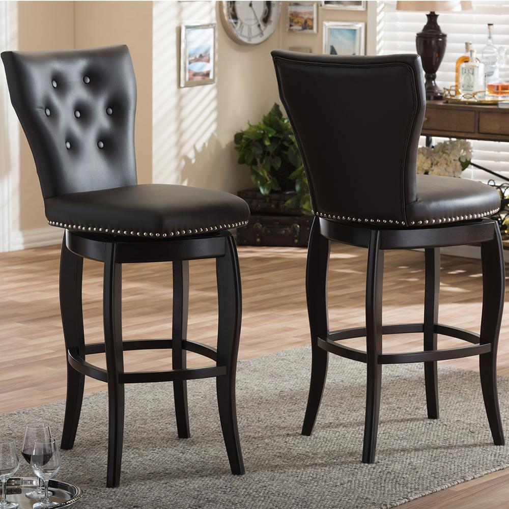 Great Leonice Brown Faux Leather Upholstered 2 Piece Bar Stool Set