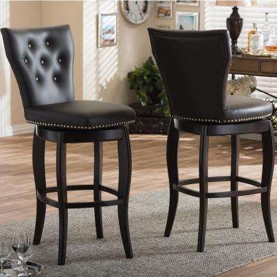Baxton Studio Leonice Brown Faux Leather Upholstered 2-Piece Bar Stool Set by Baxton Studio