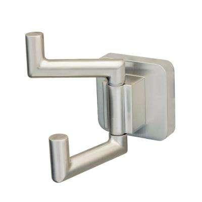 Kubos Double Robe Hook in Brushed Nickel