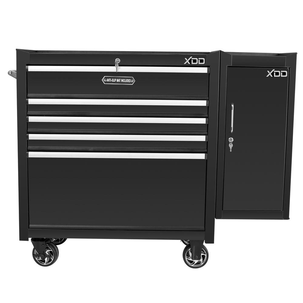 36 in. 5-Drawer Tool Chest with Side Locker, Black
