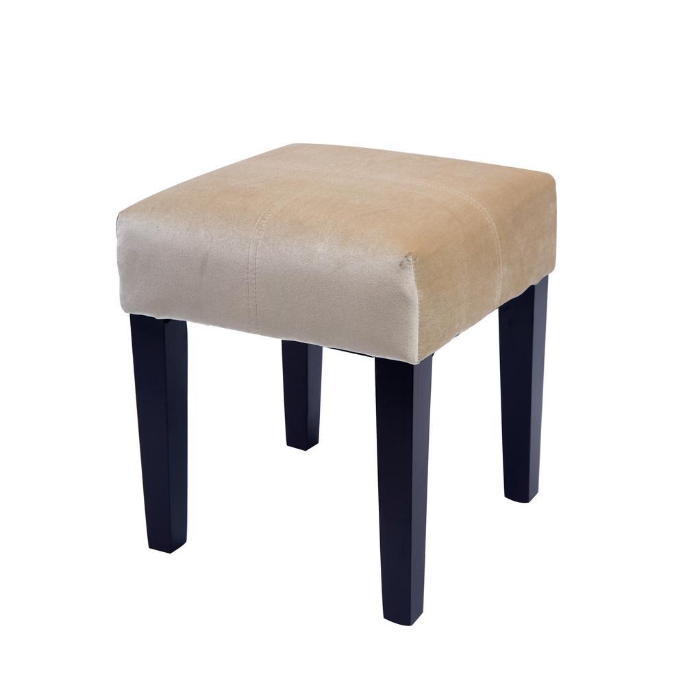 """Antonio 16"""" Square Bench in Cream Velvet"""