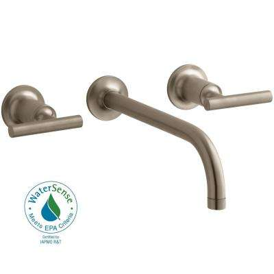Purist Wall Mount 2-Handle Low-Arc Faucet Trim in Vibrant Brushed Bronze (Valve Not Included)