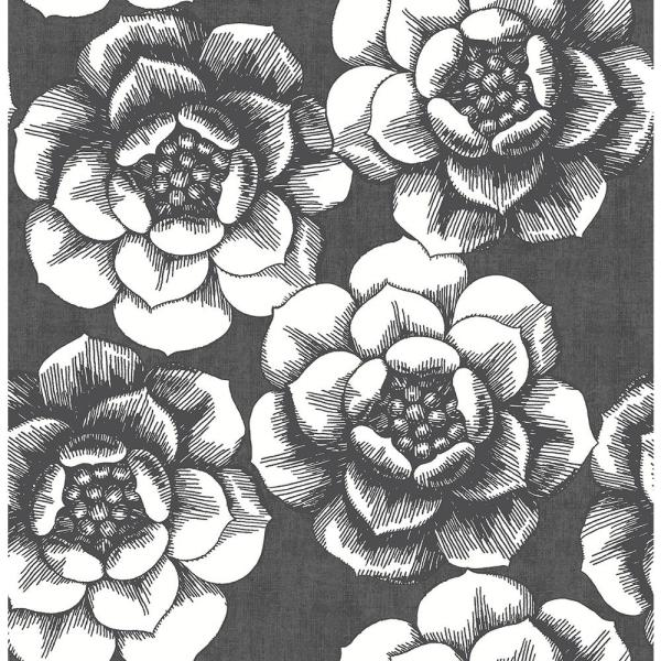 A-Street 8 in. x 10 in. Fanciful Black Floral Wallpaper Sample