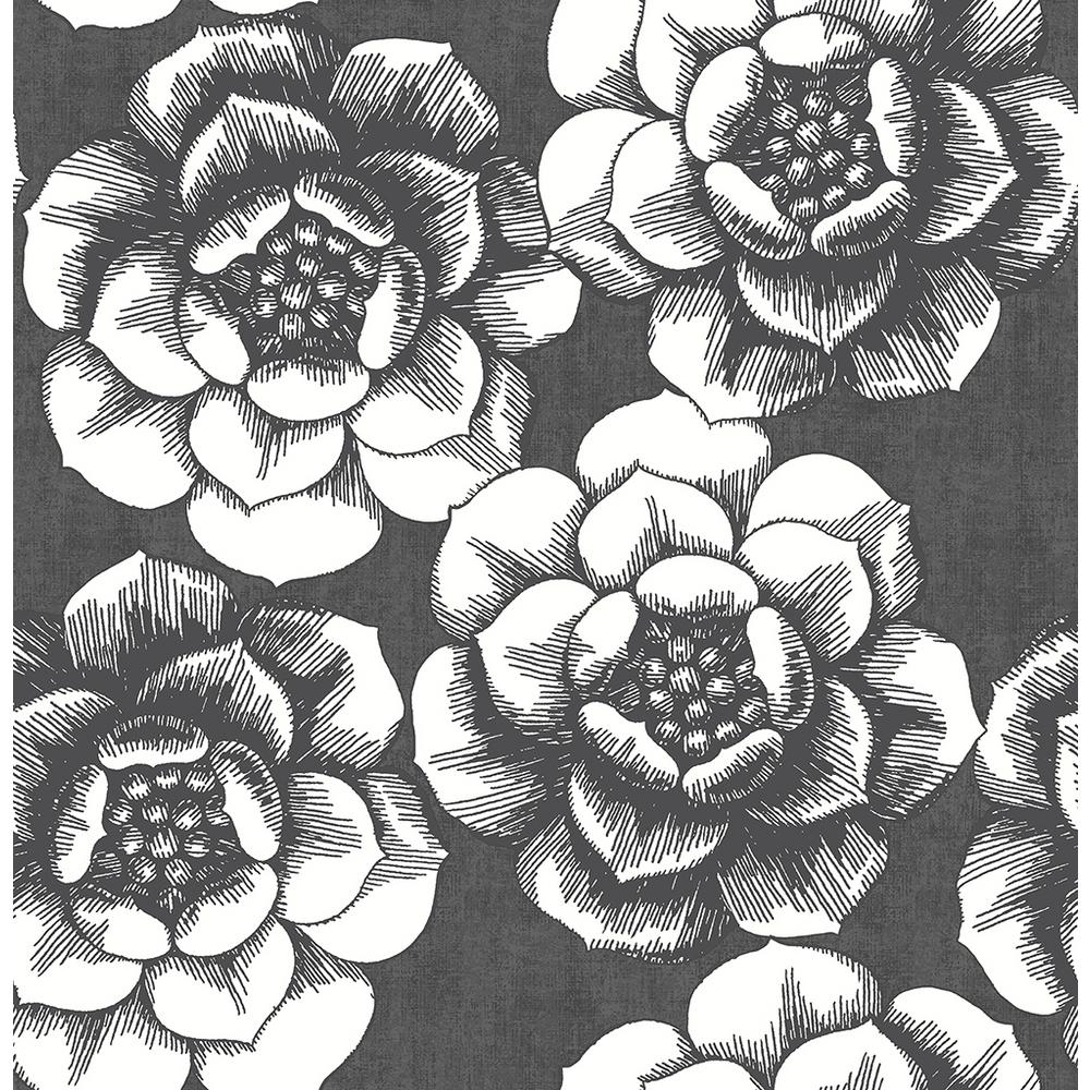 56.4 sq. ft. Fanciful Black Floral Wallpaper