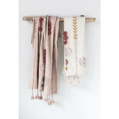 Pink Cotton Throw with Decorative Applique, Pom Poms and Tassels