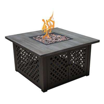 40 in. x 23 in. H Square Steel Gas Fire Pit with Brushing Table Top and Steel Base