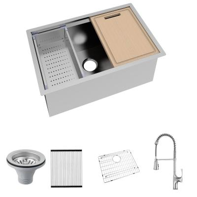All-in-One Undermount Stainless Steel 30 in. Single Bowl Kitchen Workstation Sink with Faucet and Accessories Kit