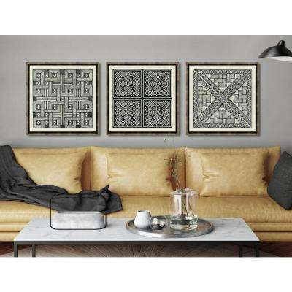 "22 in. x 22 in. ""Woodblocks III"" Framed Giclee Print Wall Art"