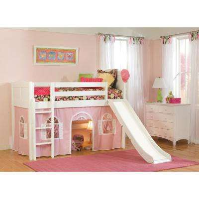 Cottage White Twin Low Loft Bed with Pink and White Bottom Curtain and Slide