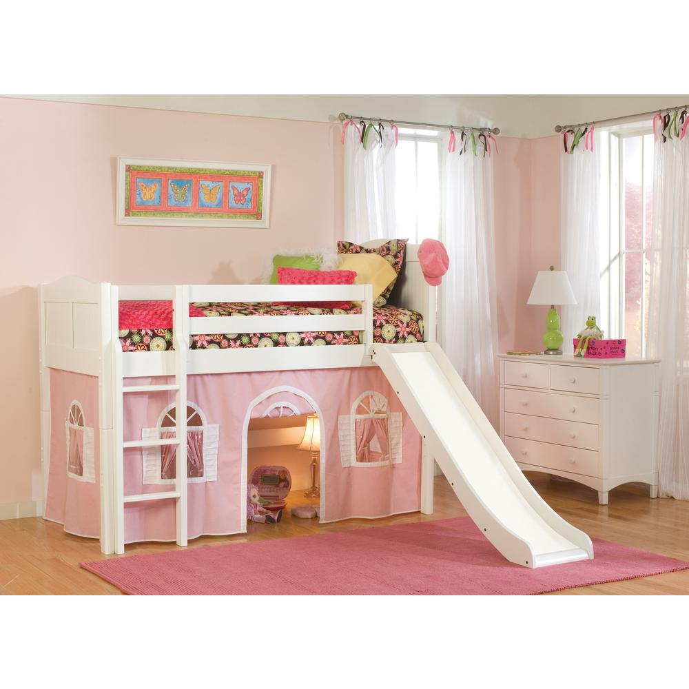 Cottage White Twin Low Loft Bed With Pink And Bottom Curtain Slide