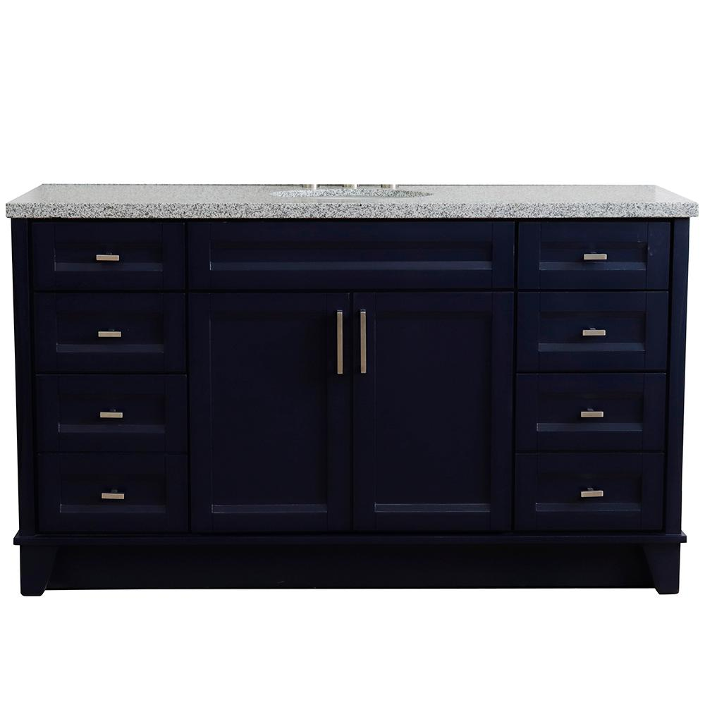Bellaterra Home 61 in. W x 22 in. D Single Bath Vanity in Blue with Granite Vanity Top in Gray with White Oval Basin