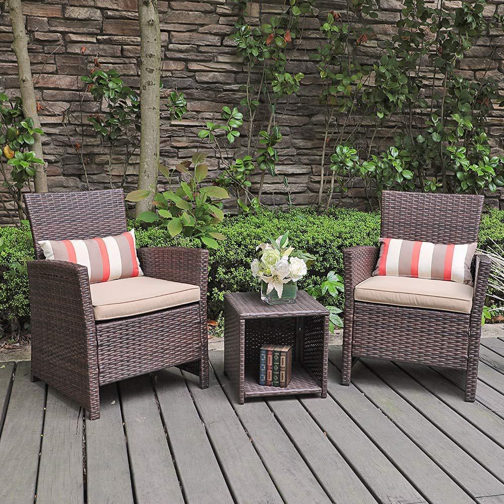 SUNSITT 3-Piece Wicker Outdoor Bistro Set with Beige Cushion