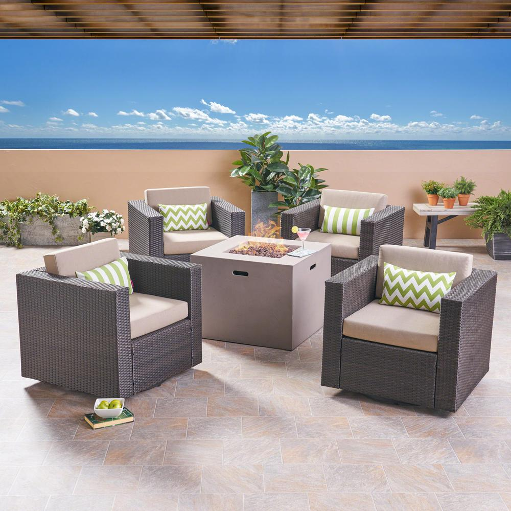 Noble House Hudson Dark Brown 5-Piece Wicker Patio Fire Pit Conversation Set with Beige Cushions