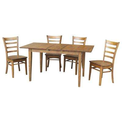 Leah 5-Piece Pecan Dining Set with Butterfly Extension and Emily Chairs