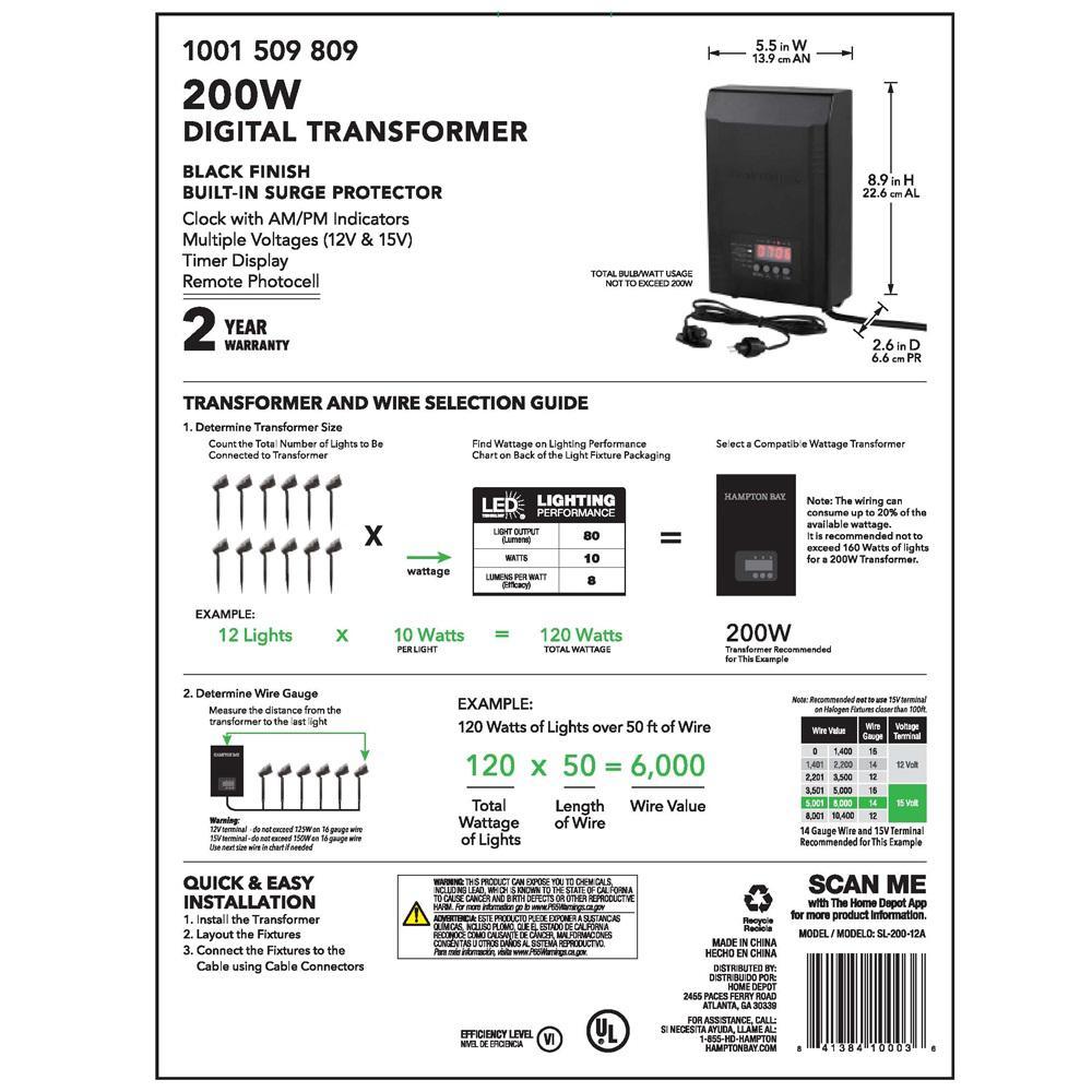 alliance outdoor lighting wiring diagram hampton bay low voltage 200 watt landscape transformer sl 200 12a  hampton bay low voltage 200 watt