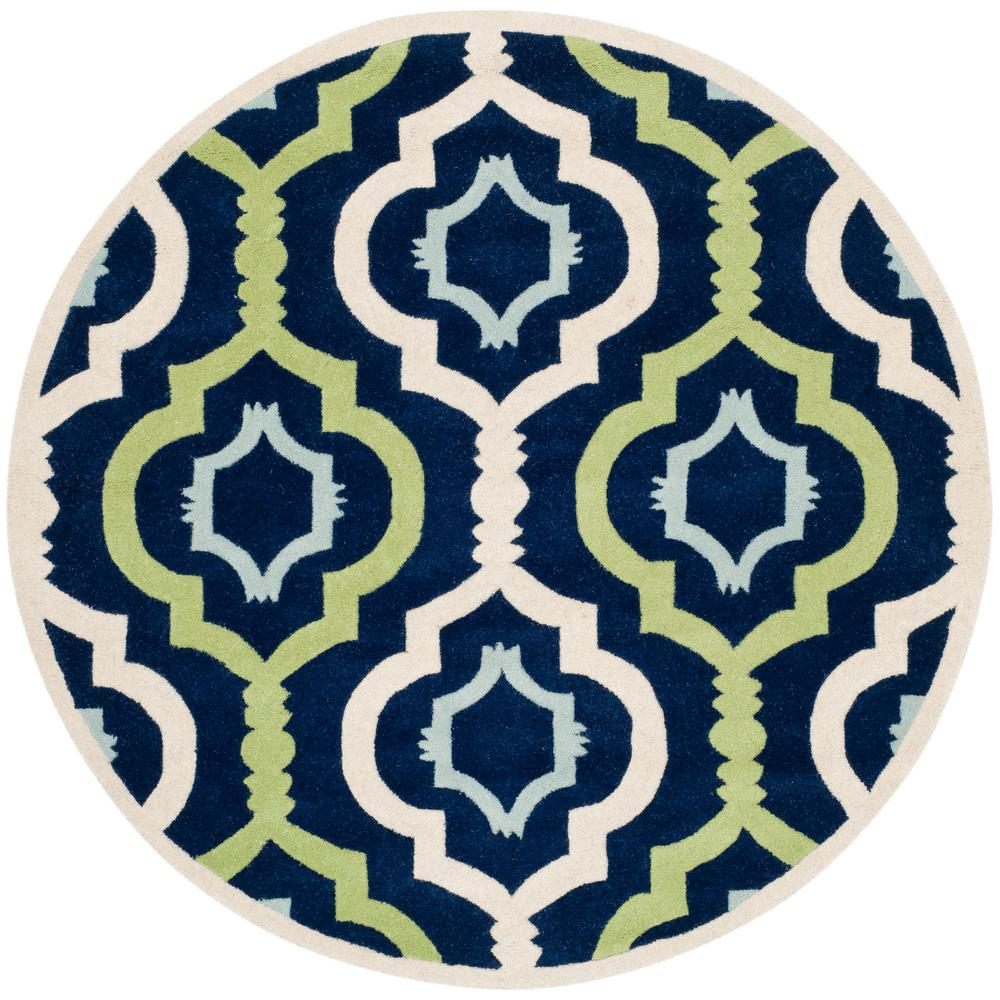 Chatham Dark Blue/Multi 7 ft. x 7 ft. Round Area Rug