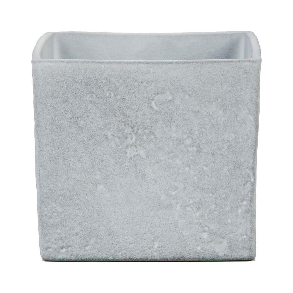 6 in. Dia Grey Stone Ceramic Pot