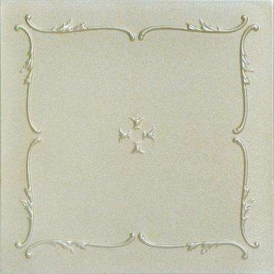 Spring Buds 1.6 ft. x 1.6 ft. Foam Glue-up Ceiling Tile in Onyx Gold