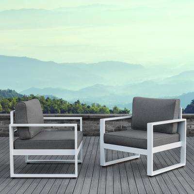 Astounding Baltic White 2 Piece Aluminum Patio Conversation Set With Gray Cushions Interior Design Ideas Apansoteloinfo