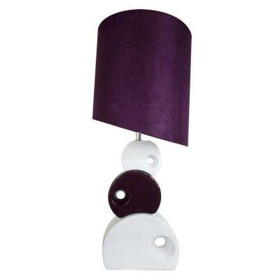 29 in. Purple and White Stacked Circle Ceramic Table Lamp with Asymmetrical Shade