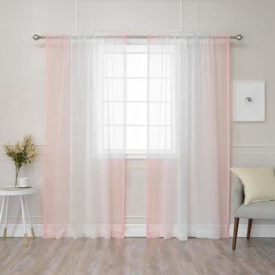84 in. L Pink Sheer Faux Linen Rod Pocket Ombre Border Curtain (2-Pack)