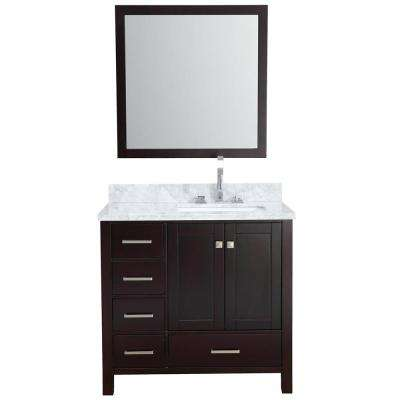 Cambridge 37 in. Vanity in Espresso with Carrara Marble Vanity Top in White with White Basin and Mirror