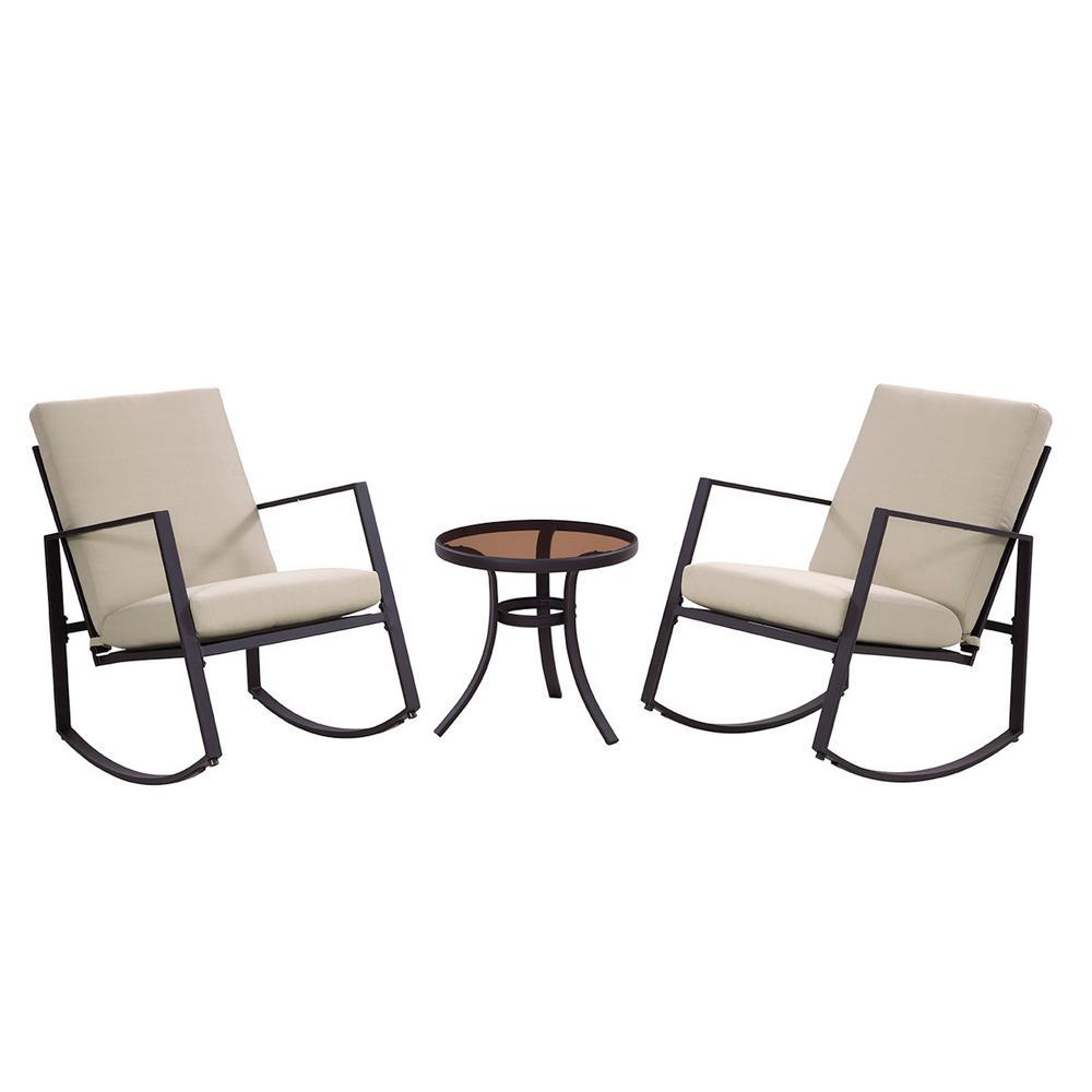Liberty Garden Aurora 3-Piece Metal Outdoor Rocking Chair Set with Neutral Cushions