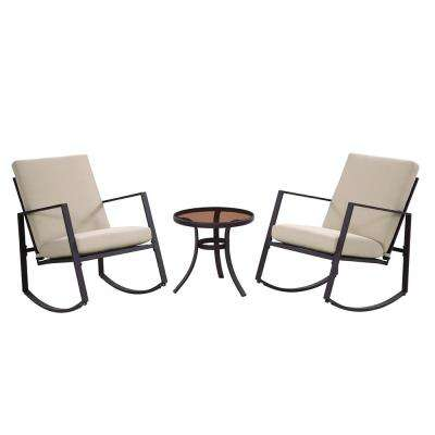 Aurora 3-Piece Metal Outdoor Rocking Chair Set with Neutral Cushions