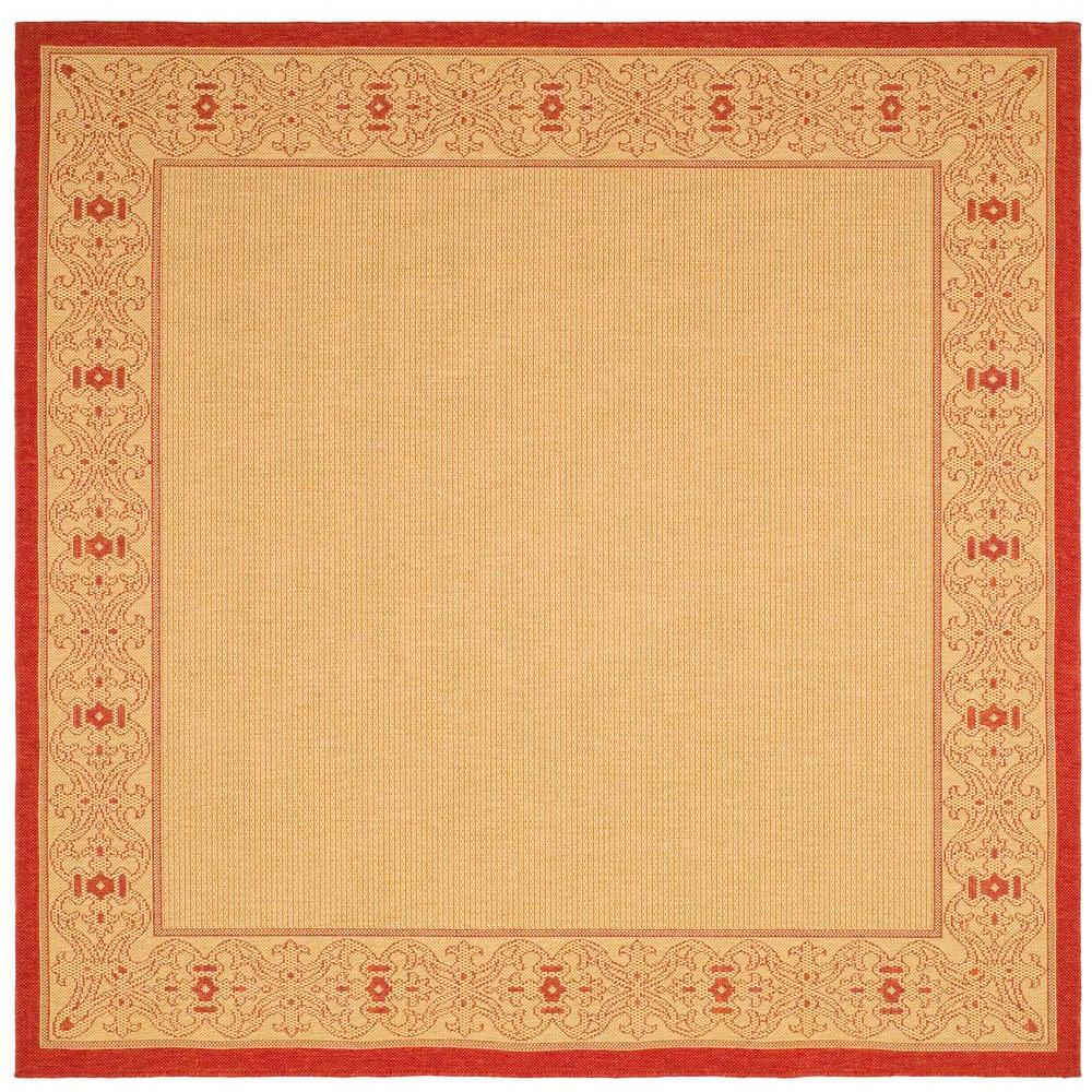 Safavieh Courtyard Natural/Red 7 ft. 10 in. x 7 ft. 10 in. Indoor/Outdoor Square Area Rug