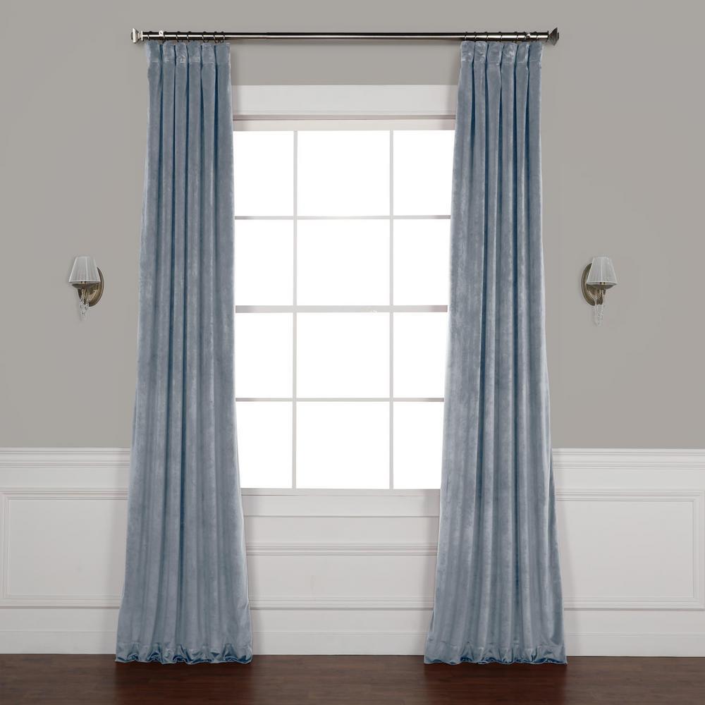 Denmark Blue Heritage Plush Velvet Curtain - 50 in. W x 84 in. L