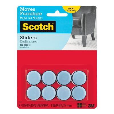 Scotch 1 in. Gray/Black Round Self-Stick Permanent Furniture Sliders (8-Pack)