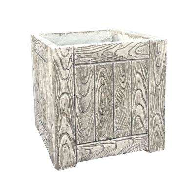 13.78 in. x 13.78 in. x13.78 in. Grey Lightweight Concrete Wood Grain Cube Large Planter