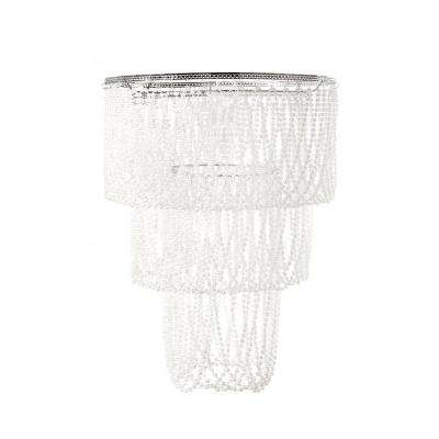 14 in. x 20 in. 1-Light White Pearlized Bead Pendant Triple Layer Lamp Shade