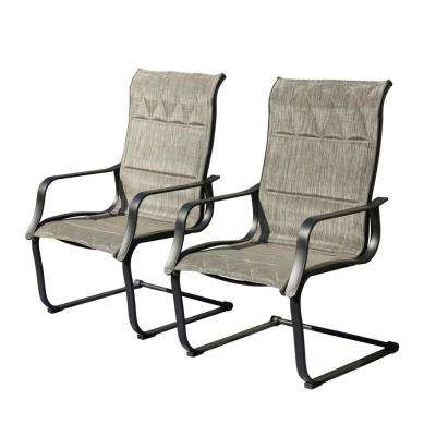 Padded Spring Sling Outdoor Dining Chair (2-Pack)