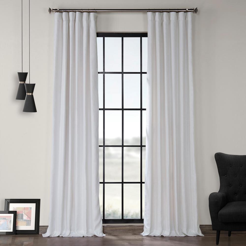 Crisp White French Linen Curtain - 50 in. W x 120 in. L